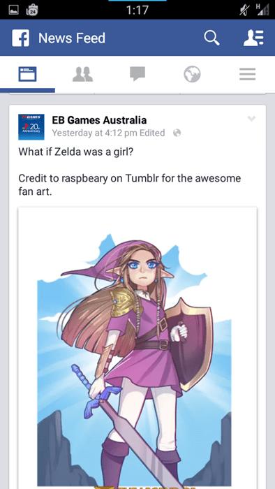 link,EB Games,facebook,zelda