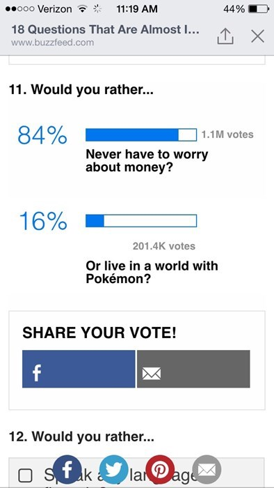 would you rather Pokémon polls money - 8406156544