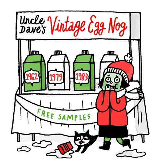 eggnog,christmas,egg nog,vintage,web comics