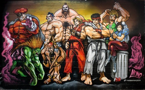 Street Art,graffiti,Street fighter,hacked irl,video games