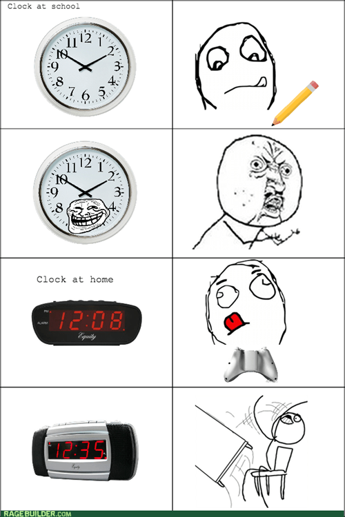 Y U NO,time,troll face,clock,table flipping