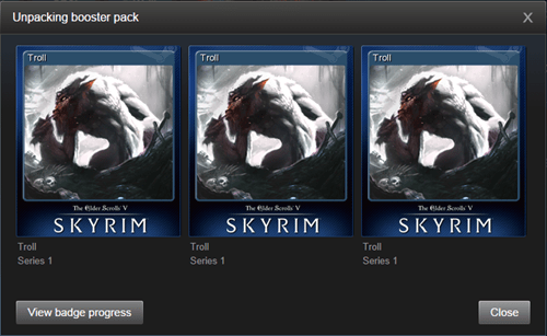steam valve cards Skyrim trolls