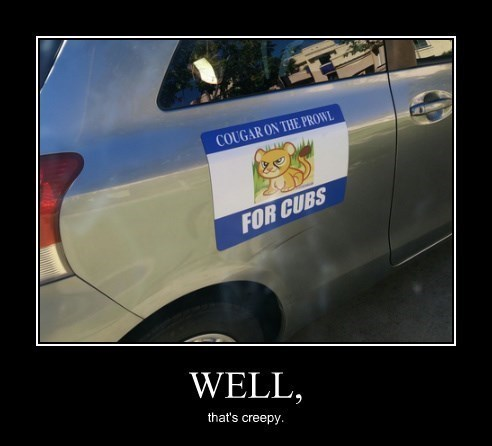 cougar,car,bumper sticker,funny