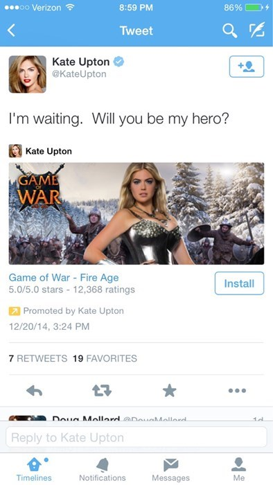 mobile gaming,ads,kate upton