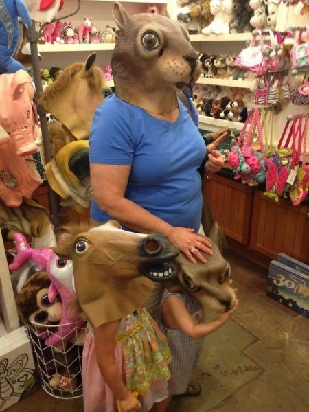 kids,mask,squirrel,horse mask,parenting,horse