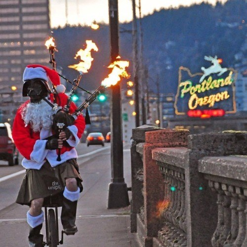 christmas portland bagpipes unicycle darth vader