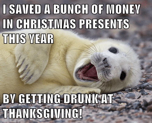 animals christmas drunk seal presents