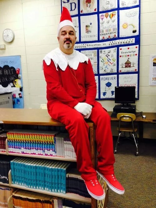 Teacher dresses up as an elf