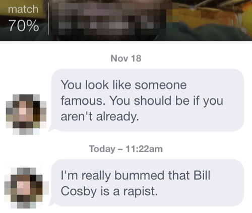Don't talk about bill cosby when online dating