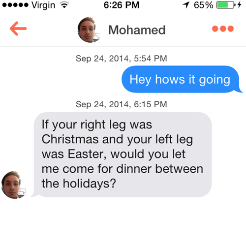 Don't use holidays like christmas and easter for pickup lines