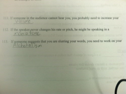 Test answer about slurring words is alcoholism