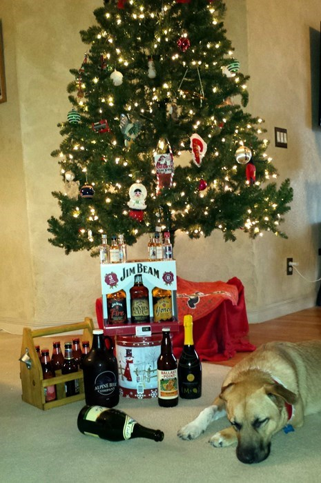 dogs christmas drunk funny - 8411873792