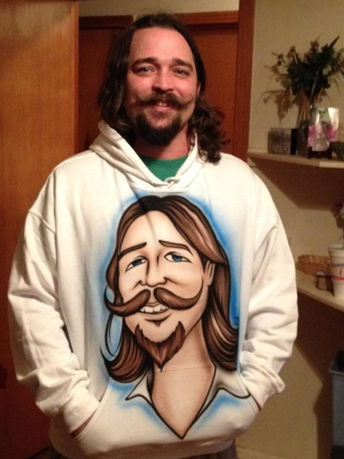 beard,facial hair,matching,hoodie,moustache,mustache,sweatshirt,poorly dressed