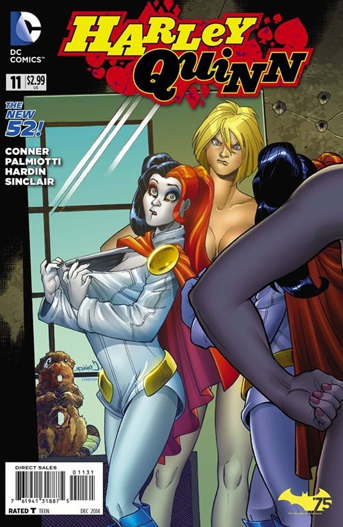 bewbees,Straight off the Page,power girl,Harley Quinn
