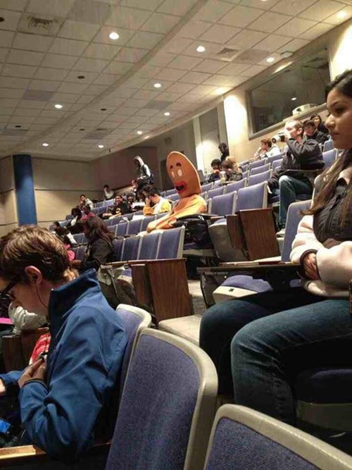 costume,lecture,gingerbread man,funny,college