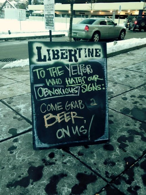 Yelpers love free beer but hate obnoxious signs