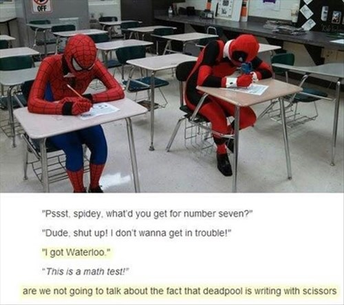 deadpool,superheroes,Spider-Man,math,funny,exams,g rated,School of FAIL