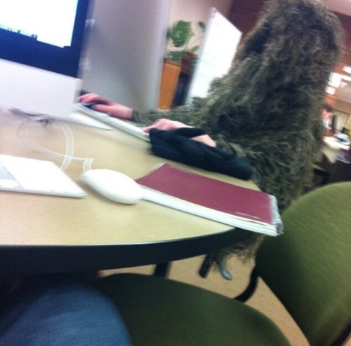 camouflage finals exams funny ghillie suit studying - 8413929984