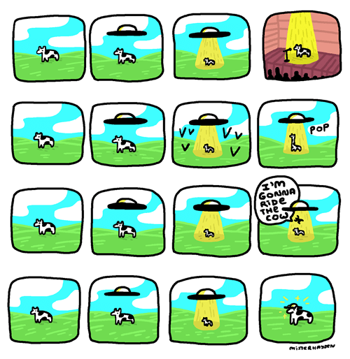 Aliens,pranks,cows,web comics