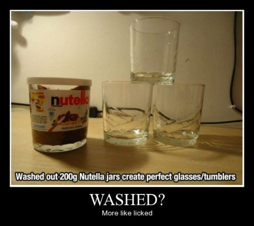 clean glasses nutella jars funny - 8414137856