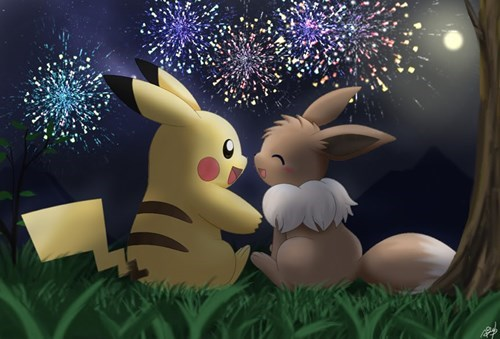 new years,Fan Art,eevee,pikachu