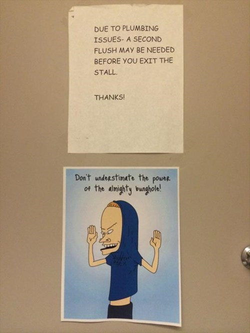 monday thru friday,sign,beavis and butthead,bathroom,g rated