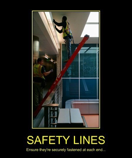 funny,ladder,idiots,safety line