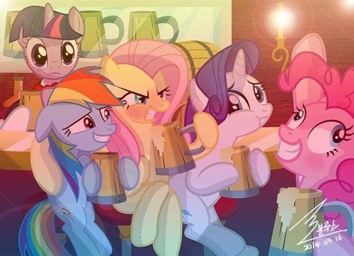 drinking mane 6 new years - 8415579648