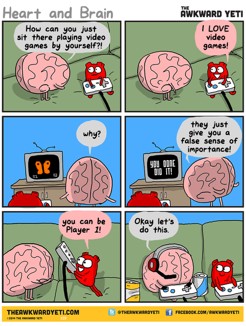 heart brain video games web comics