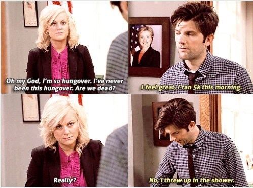 vomit,parks and recreation,hangover,funny