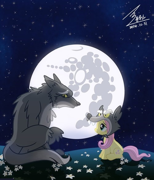 wolves,moon,fluttershy
