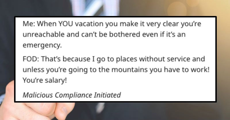 reddit thread about guy's plan when told he has to work on vacation