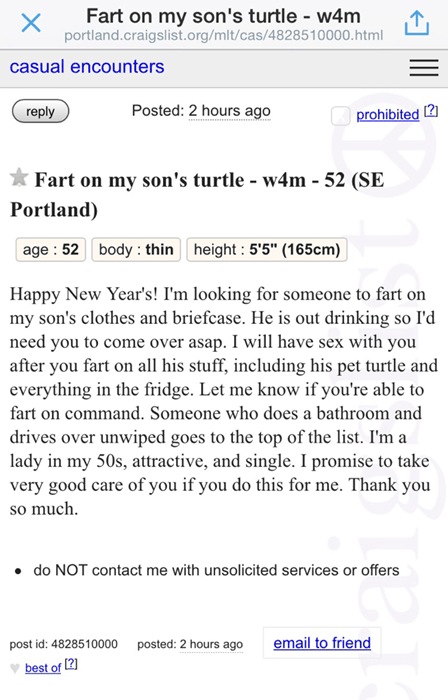 Screen grab of a posting on Craigslist of a woman who is looking for someone to fart on her son's pet turtle, clothes, and briefcase.
