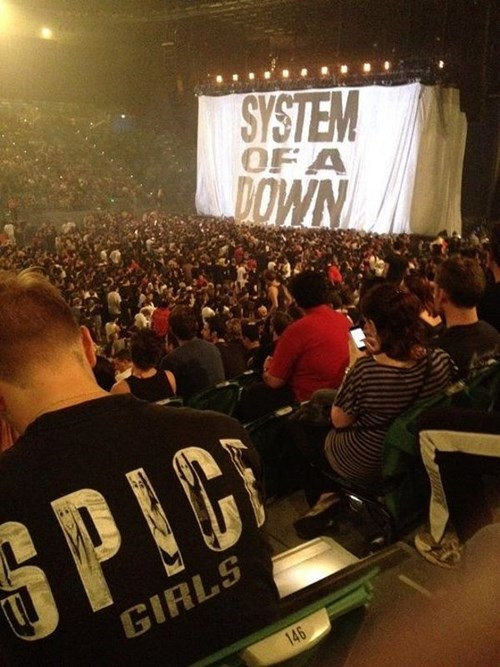 Music system of a down poorly dressed spice girls t shirts