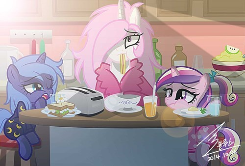 princess cadence,morning person,princess luna,princess celestia