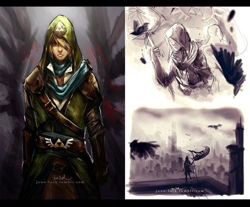 Fan Art,link,mashup,assassins creed,zelda