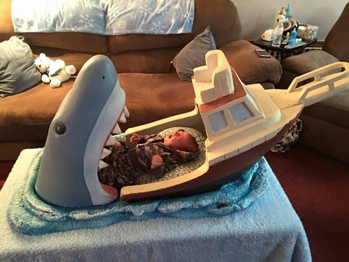 baby,jaws,bed,parenting,shark,g rated