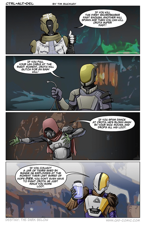 exploits,destiny,crota,raid,web comics,the dark below