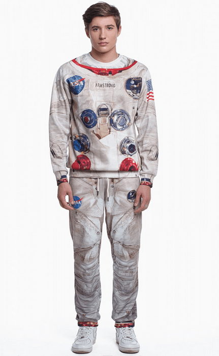 poorly dressed,sweatpants,sweatshirt,space suit,astronaut