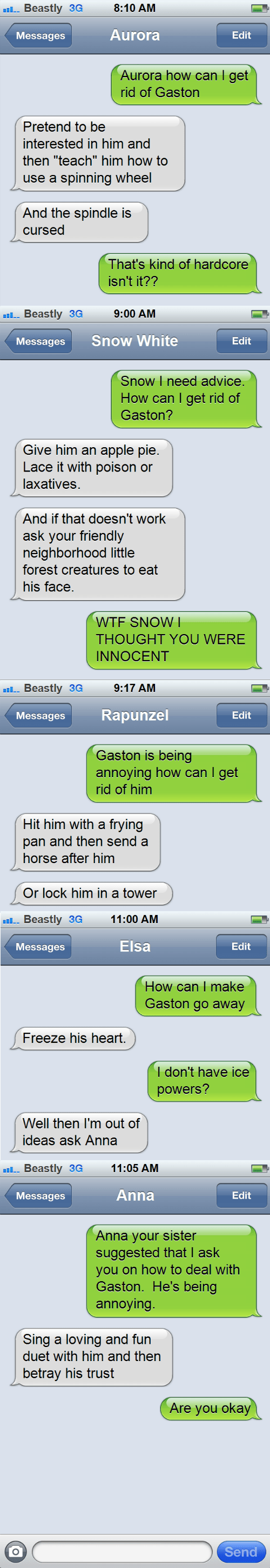 Gaston,disney,disney princesses,sms