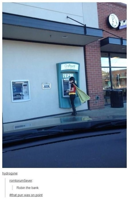 bank tumblr robin puns batman - 8419518464