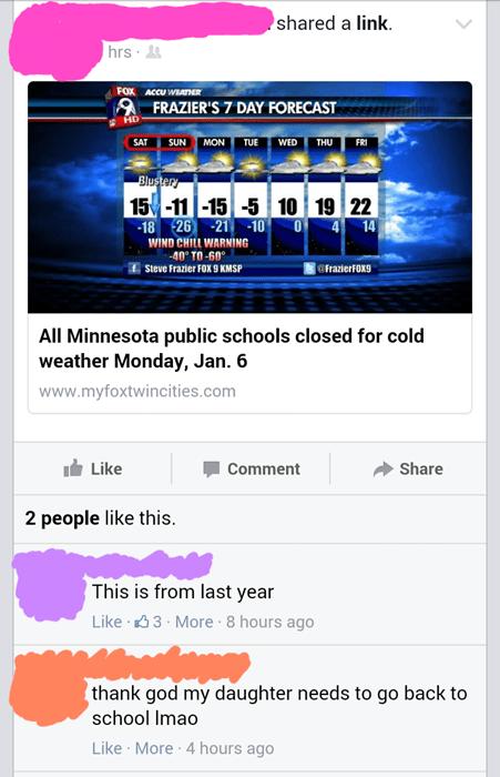 school facepalm weather parenting
