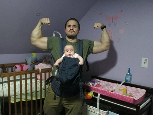baby expression parenting dad muscles g rated - 8419948288