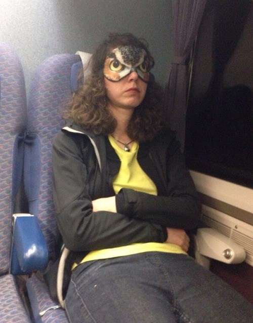 eye mask,poorly dressed,Owl,sleeping,g rated