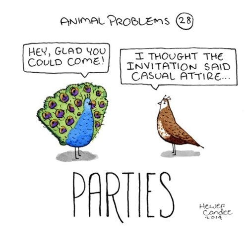 birds,parties,peacocks,web comics