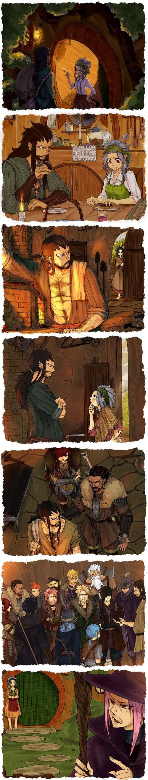 anime,crossover,fairy tail,Fan Art,The Hobbit