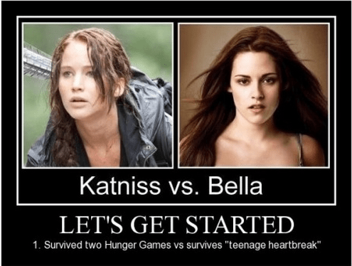 katniss hunger games twilight heart break funny - 8420975616