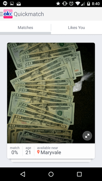 Your profile pic should not be of a pile of 20 dollar bills