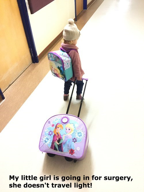kids,parenting,frozen,surgery,luggage,backpack