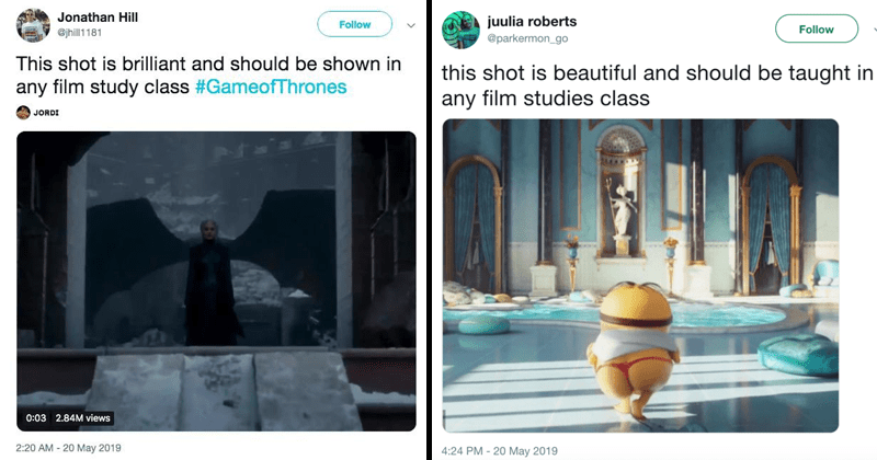 "Funny meme about Game of Thrones finale, ""This shot is brilliant and should be used in any film studies class."" ""This shot is beautiful and should be used in any film studies."" Funny meme about filmmaking, filmmaking memes."
